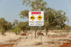 Przybłąkanych zwierząt Drogowy znak - Australia Obrazy Stock