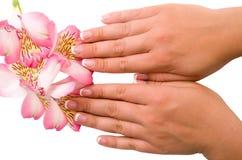 Przybija opiekę dla kobiet ręk Zdjęcia Royalty Free