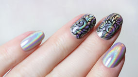 Przybija sztuka manicure obrazy stock