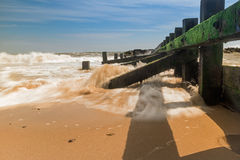 Przybywająca przypływu Aberdeen miasta plaża zdjęcia stock
