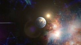 Przybywający błękita światła chodzenie w kierunku przędzalnictwo ziemi z śladu światłem Naukowa tła i abstrakta technologia zapas obraz stock