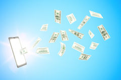 Przychodu pieniądze online z cyfrową pastylką i dolarami Zdjęcie Royalty Free