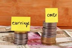 Przychody vs koszty obrazy stock