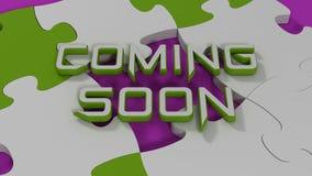 Przychodzący wkrótce tekst z kolorem intryguje tło 3d Obrazy Stock