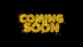 Przychodzący Wkrótce typografię Pisać z Złotymi cząsteczek iskier fajerwerkami