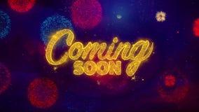 Przychodzący Wkrótce Witać teksta błyskotania cząsteczki na Barwionych fajerwerkach