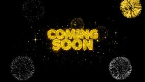 Przychodzić Wkrótce Złotego tekst Mruga cząsteczki z Złotym fajerwerku pokazem