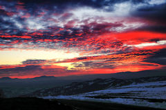 przychodził mgła zmierzch w górę zimy Obraz Royalty Free