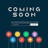 Przychodzić Wkrótce strona internetowa szablon Fotografia Stock