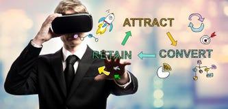 Przyciąga konwertyty Utrzymuje tekst z biznesmenem używać rzeczywistość wirtualną zdjęcia royalty free