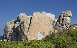 Przyciągający kształty wyspy Lavezzi na morzu Bonifacio, Południowy Corsica, Francja Zdjęcia Stock