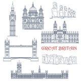 Przyciągania Wielka Brytania i Chile liniowa ikona Zdjęcie Royalty Free