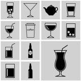 przyciski Ikony ustawiają sylwetka prostego napój Obraz Royalty Free