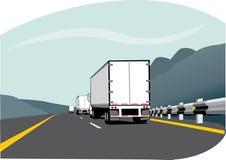przyczepy trzy ciężarówki Obrazy Stock