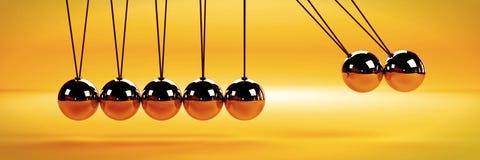 Przyczyna - i - skutka pojęcie, metalu newtonu ` s kołyska z dwa piłkami w ruchu na białym tle fotografia stock