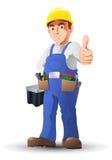 Przydatny mężczyzna pracownika budowlanego kciuk Zdjęcie Stock