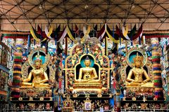 ` przydziału diabeł szczegółu ` statuy w zawiły sposób cyzelowania przy Złotą świątynią i, Kushalnagar India Obraz Royalty Free