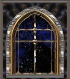 przyglądająca noc przyglądający nieba przestrzeń okno ilustracja wektor