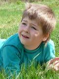 przyglądający chłopiec portret Zdjęcia Stock