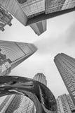 Przyglądający przy nowożytnymi drapaczami chmur w miasto dzielnicie biznesu up Obraz Royalty Free