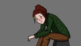 Przygnębiona osoba, ilustracja Zdjęcia Stock