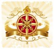 przygod kompasu emblemata złoty różany rocznik Zdjęcie Royalty Free