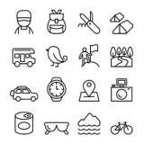Przygoda, badacz, odkrycie, camping, podróżnik, turystyki ikona ilustracji