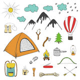 Przygody, camping, podróż projekta ręka rysujący elementy Obraz Stock