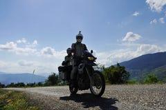 Przygody motorcycling podróż Obrazy Royalty Free