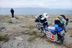 Przygody motorcycling w Armenia Obraz Royalty Free