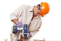przygotować carpenter budowy elementów dachu działania Zdjęcia Stock