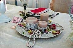 Przygotowania dla romantycznego gościa restauracji -4 fotografia stock