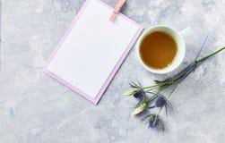 Przygotowania kwiaty, filiżanka herbaciane i puste papierowe karty na szarym tle Zdjęcie Royalty Free