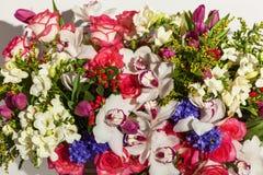 Przygotowania kwiaty od róż, orchidei i tulipanów, Zdjęcie Stock