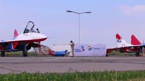 Przygotowanie dla start samolotów na airshow zbiory