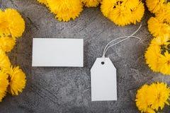 Przygotowanie dla tworzenia korporacyjny styl Wizytówka i Pusta etykietka Kwiatu projekt, jaskrawy żółty kolor Mockup fotografia stock