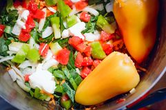 Przygotowanie naczynia od świeżych warzyw zdrowa żywność zdjęcia royalty free