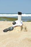 Przygotowanie sunbathing na plaży Zdjęcia Royalty Free