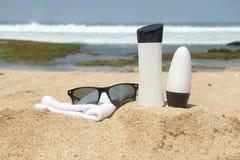 Przygotowanie sunbathing na plaży Zdjęcia Stock