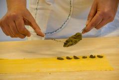 Przygotowanie typowy Langhe makaron: agnolotti Obraz Royalty Free