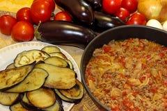 Przygotowany forcemeat stewed z cebulami i pomidorami wykładał w ro Obraz Stock
