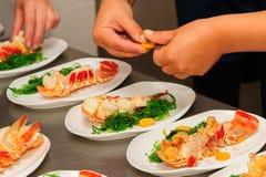 Przygotowany homar na talerzu zdjęcie stock