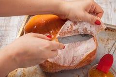 Przygotowany Oszklony Wakacyjny wieprzowina baleron obrazy stock
