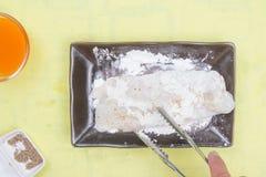 Przygotowany polędwicowy Dory ryba mieszana mąka zdjęcia royalty free