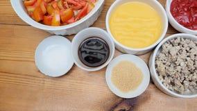 Przygotowywać Doprawiający składnika domowej roboty kulinarnego odgórnego widok Fotografia Royalty Free