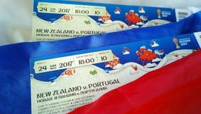 Przygotowywać wchodzić do dopasowania konfederaci filiżanka i puchar świata 2018 w 2017 w Rosja Fan ustawiający - bilety i flaga Fotografia Stock