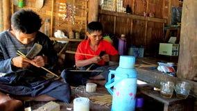 Przygotowywa dla bambusowego tkactwa, Chaung Tha, Myanmar zbiory