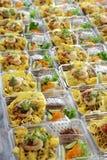 Przygotowywa jedzenie w plastikowym pudełku Fotografia Royalty Free