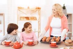 Przygotowywająca babcia niesie na pokładów świeżych muffins dla małych wnuków pijący Obraz Stock