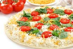 przygotowywająca piekarnik pizza obraz stock